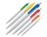 Bolígrafo de plástico blanco con clip de colores.